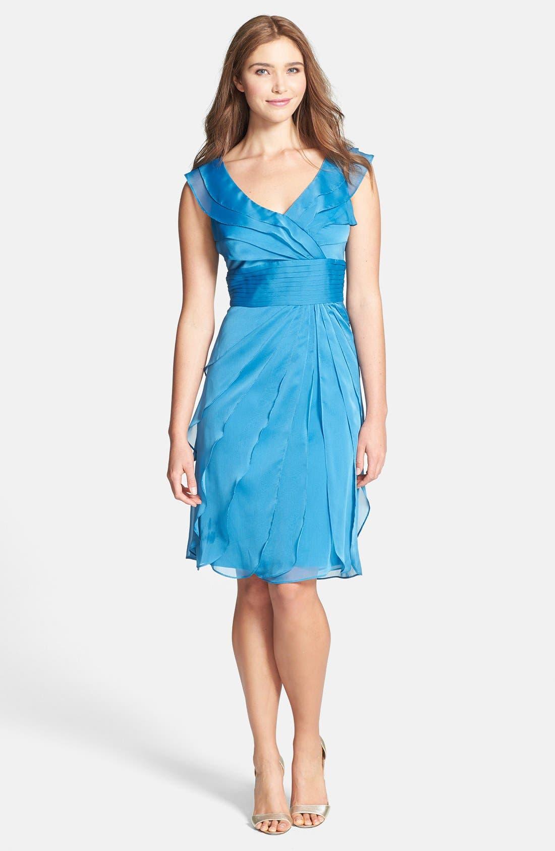 Tiered Chiffon Dress,                         Main,                         color, Azure