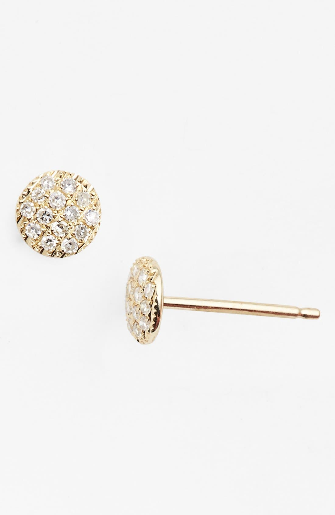 'Lauren Joy' Diamond Disc Stud Earrings,                             Main thumbnail 1, color,                             Yellow Gold
