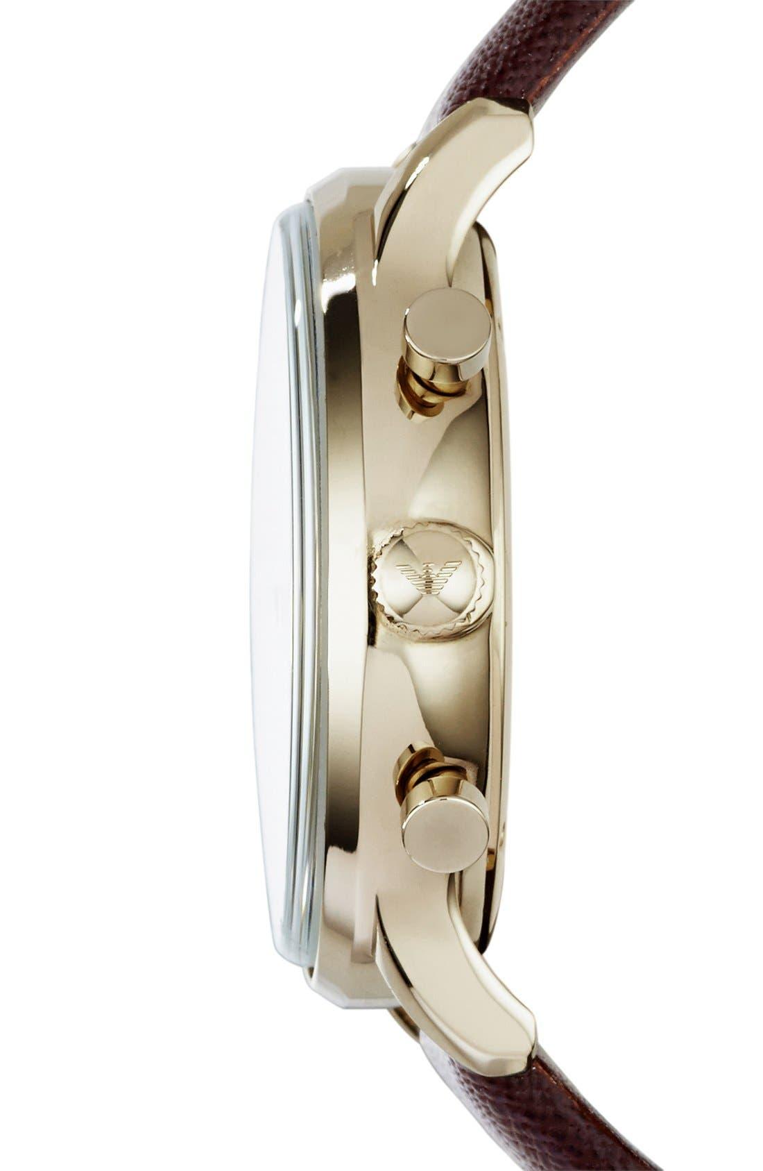 Alternate Image 3  - Emporio Armani Chronograph Leather Strap Watch, 43mm