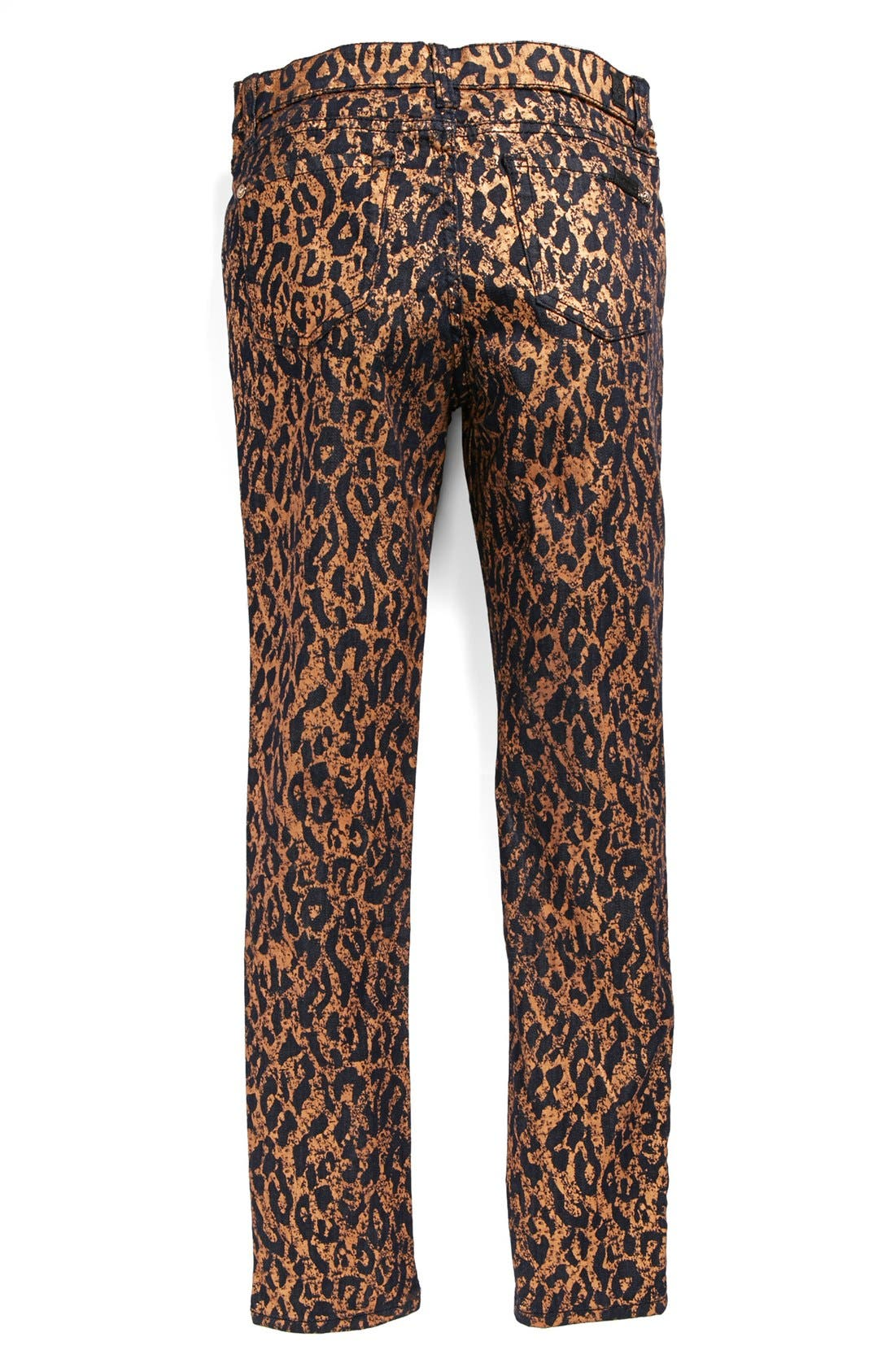 Main Image - 7 For All Mankind® 'The Skinny' Cheetah Print Skinny Jeans (Big Girls)