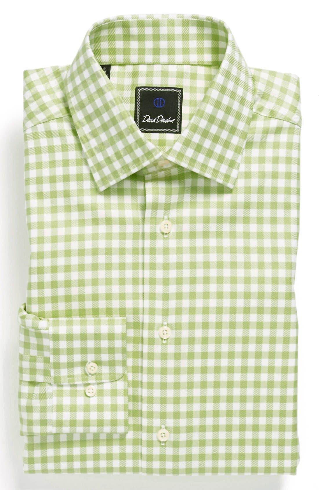 Main Image - David Donahue Twill Gingham Regular Fit Dress Shirt
