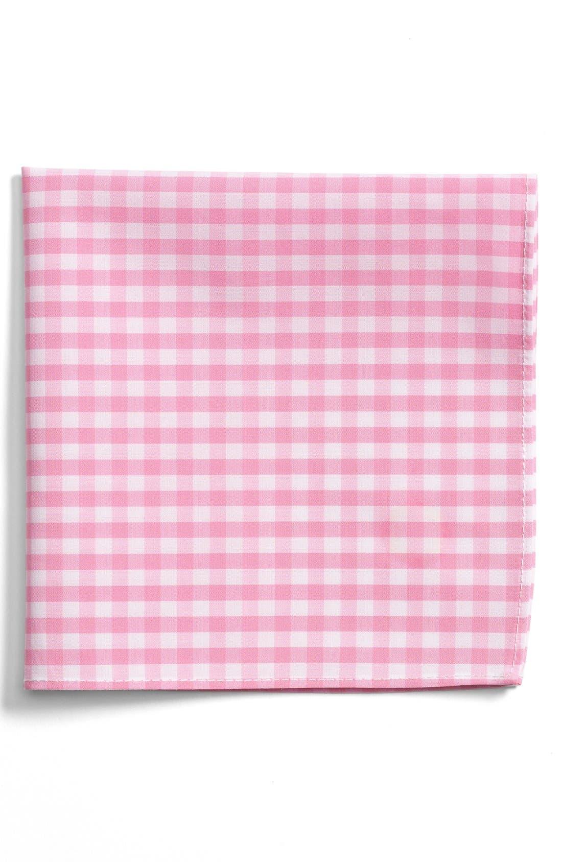 Gingham Cotton Pocket Square,                             Main thumbnail 1, color,                             Pink