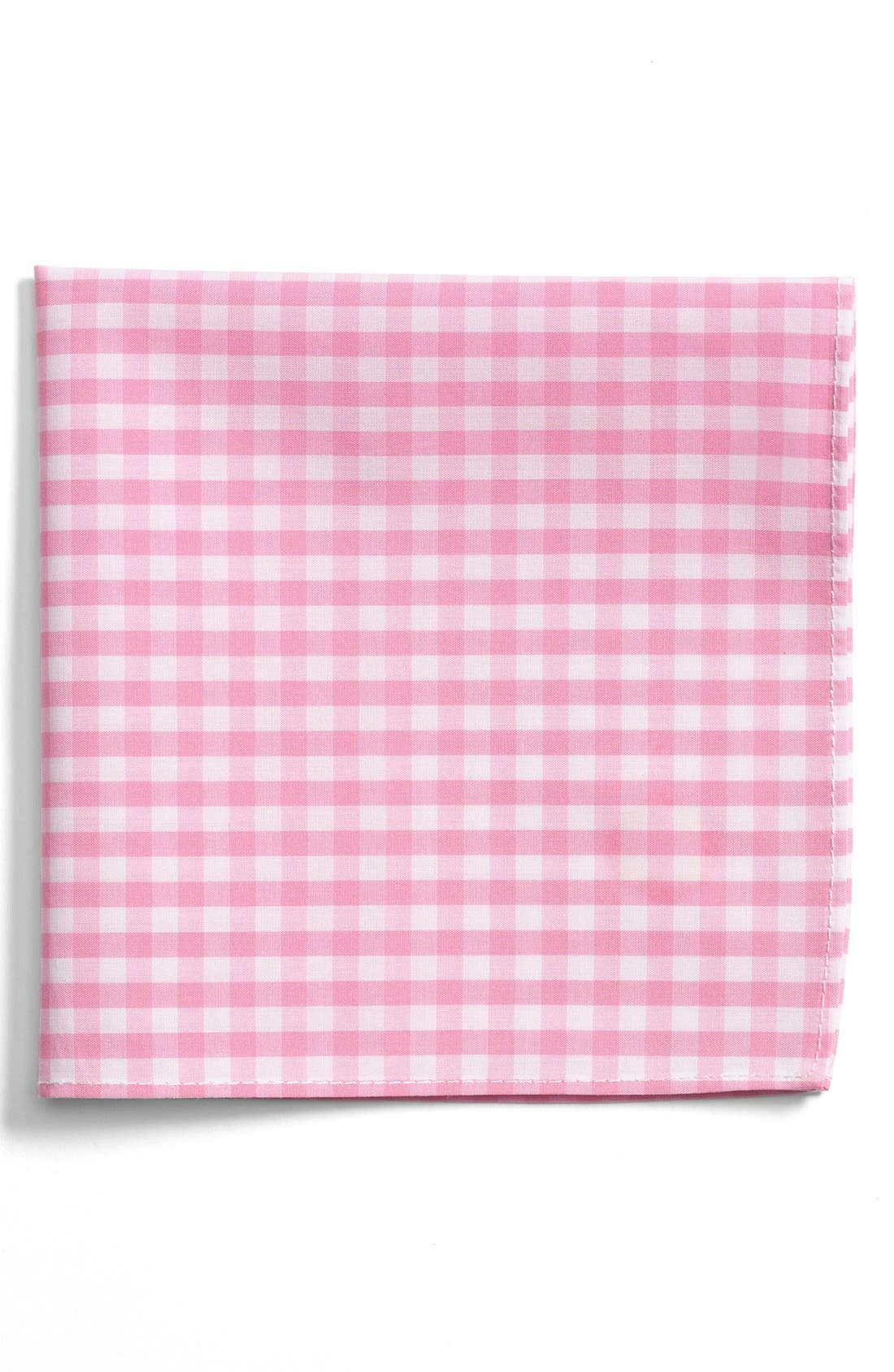 Gingham Cotton Pocket Square,                         Main,                         color, Pink