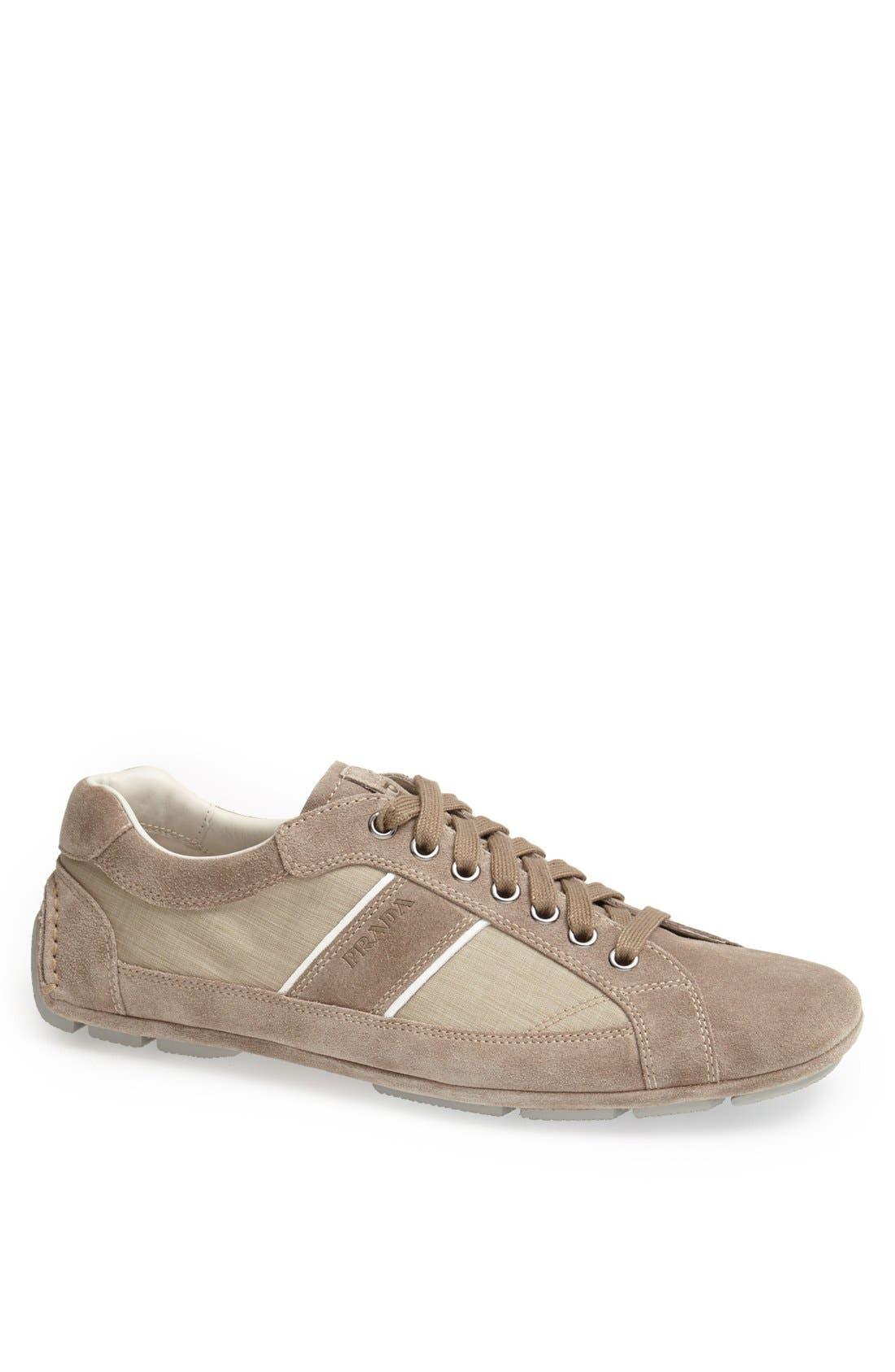Main Image - Prada Low Profile Suede and Nylon Sneaker