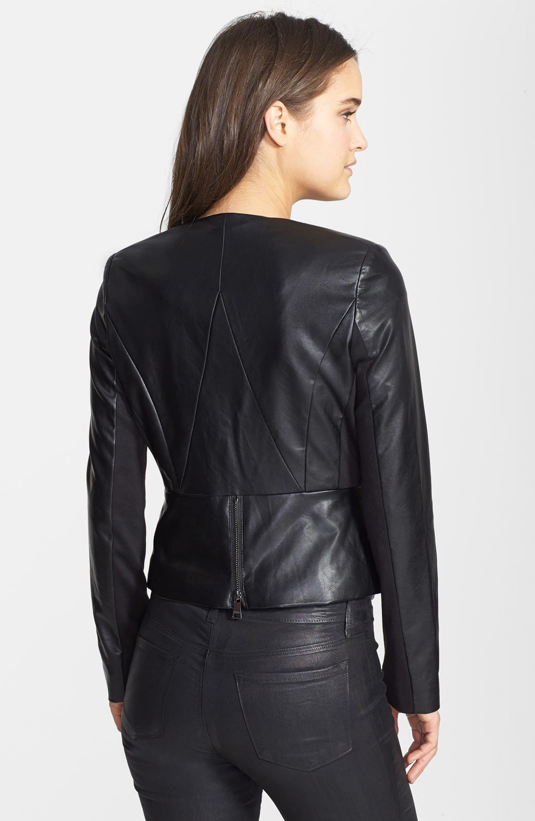 Collarless Faux Leather Jacket,                             Alternate thumbnail 2, color,                             Black