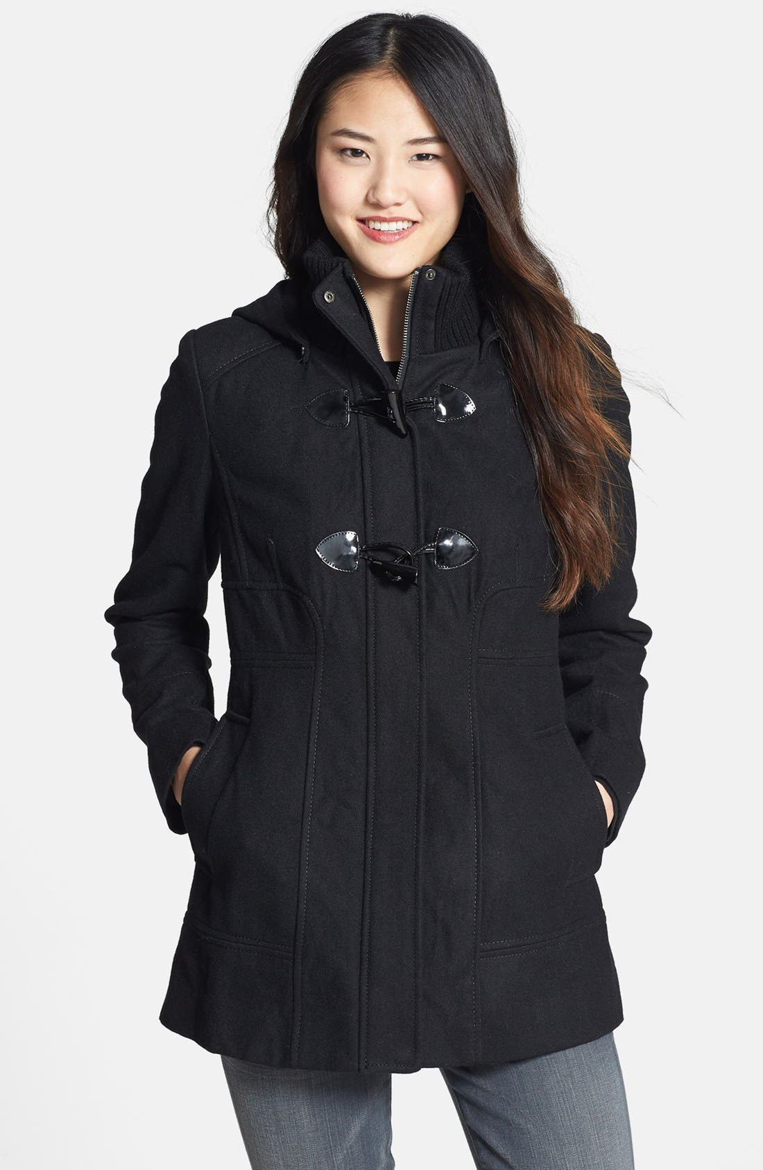 Alternate Image 1 Selected - GUESS Hooded Toggle Front Wool Blend Coat (Petite)