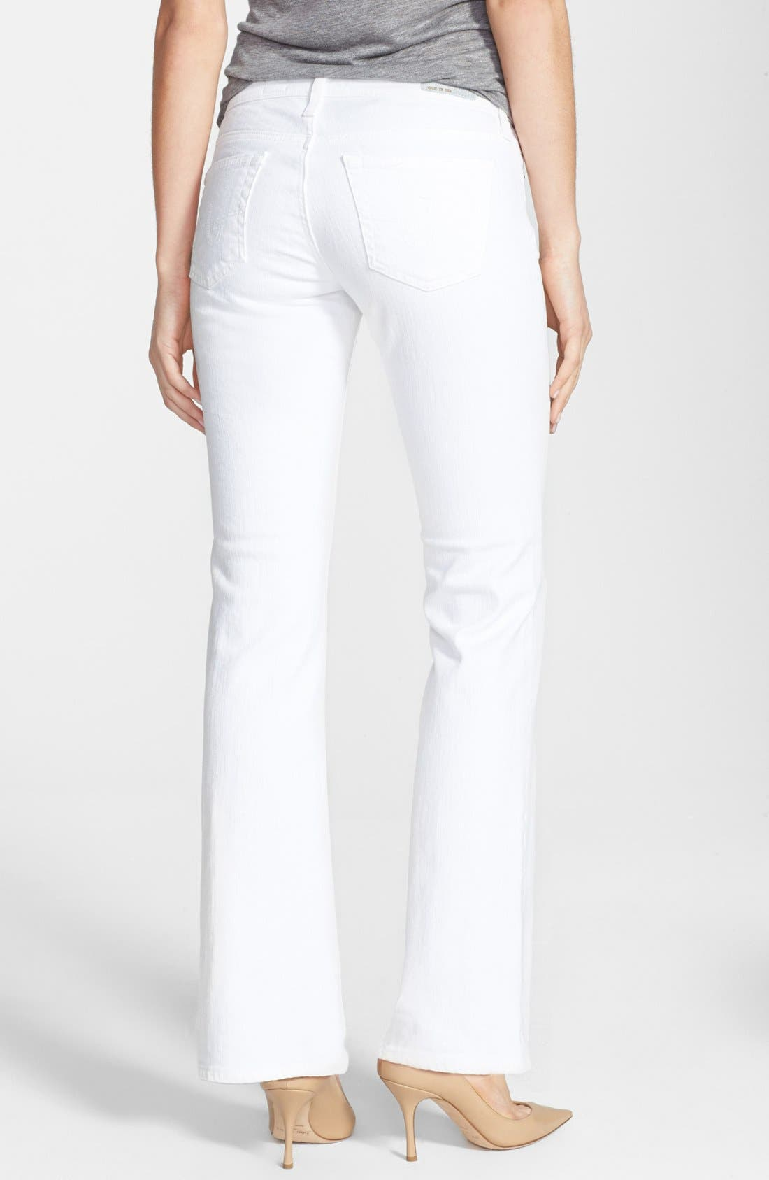 Alternate Image 2  - AG 'Angelina' Bootcut Jeans (Petite) (White)