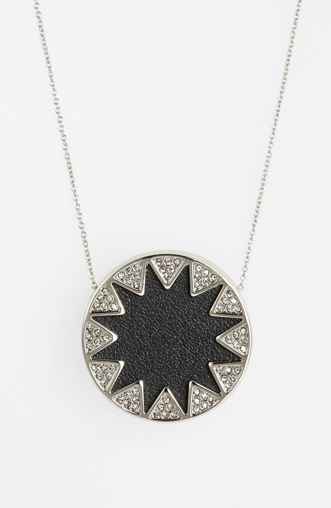 Alternate Image 2  - House of Harlow 1960 Pavé Leather Sunburst Pendant Necklace