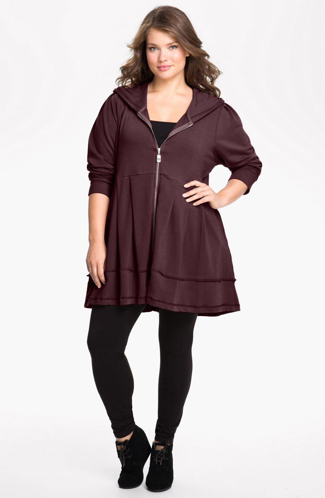 Main Image - Pink Lotus Pleated Tunic Hoodie (Plus Size)
