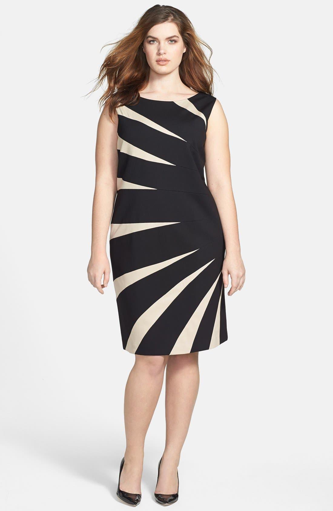 Alternate Image 1 Selected - Tahari Starburst Ponte Sheath Dress (Plus Size)