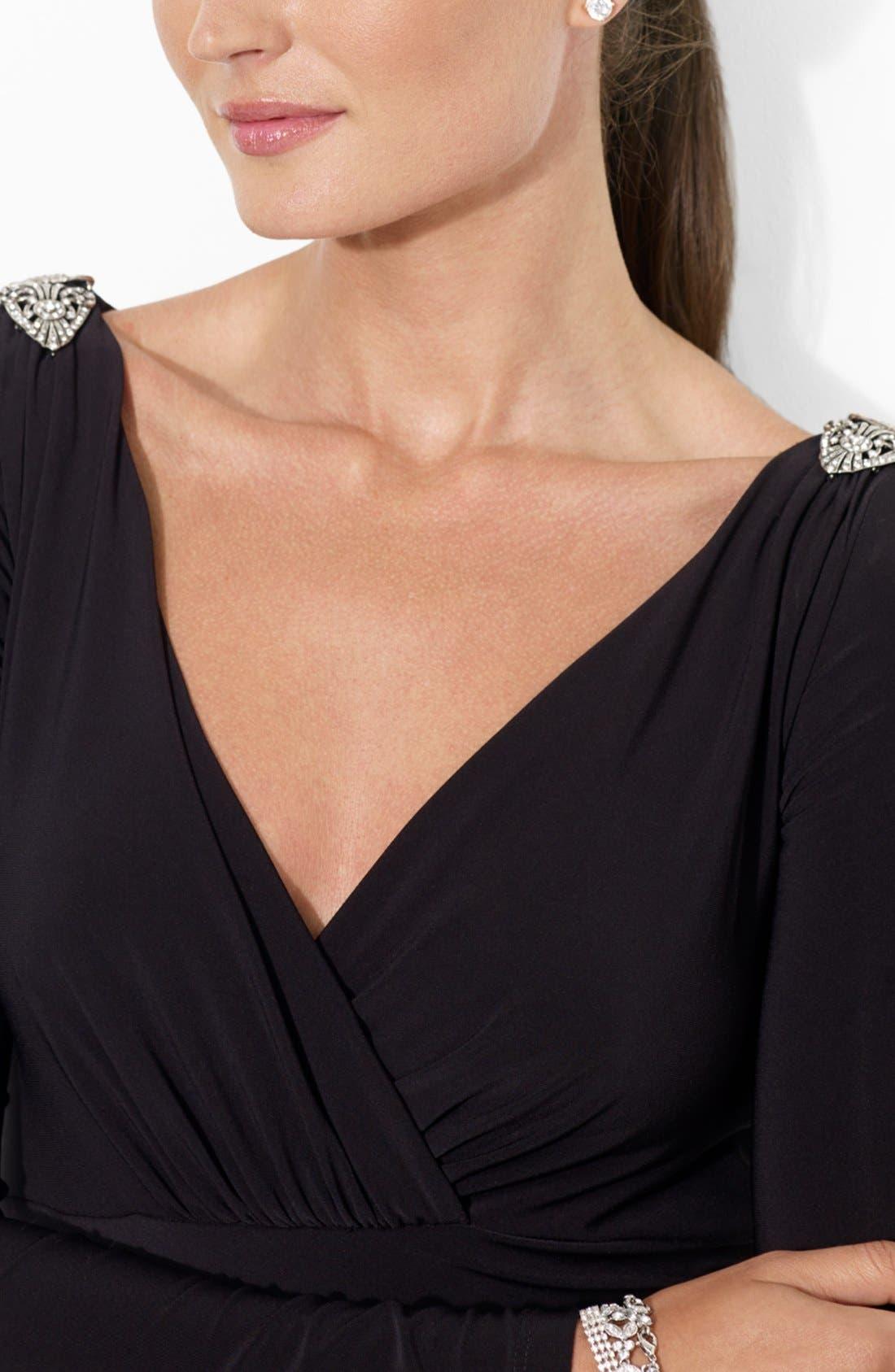 Alternate Image 3  - Lauren Ralph Lauren Embellished Shoulder Jersey Dress (Petite)