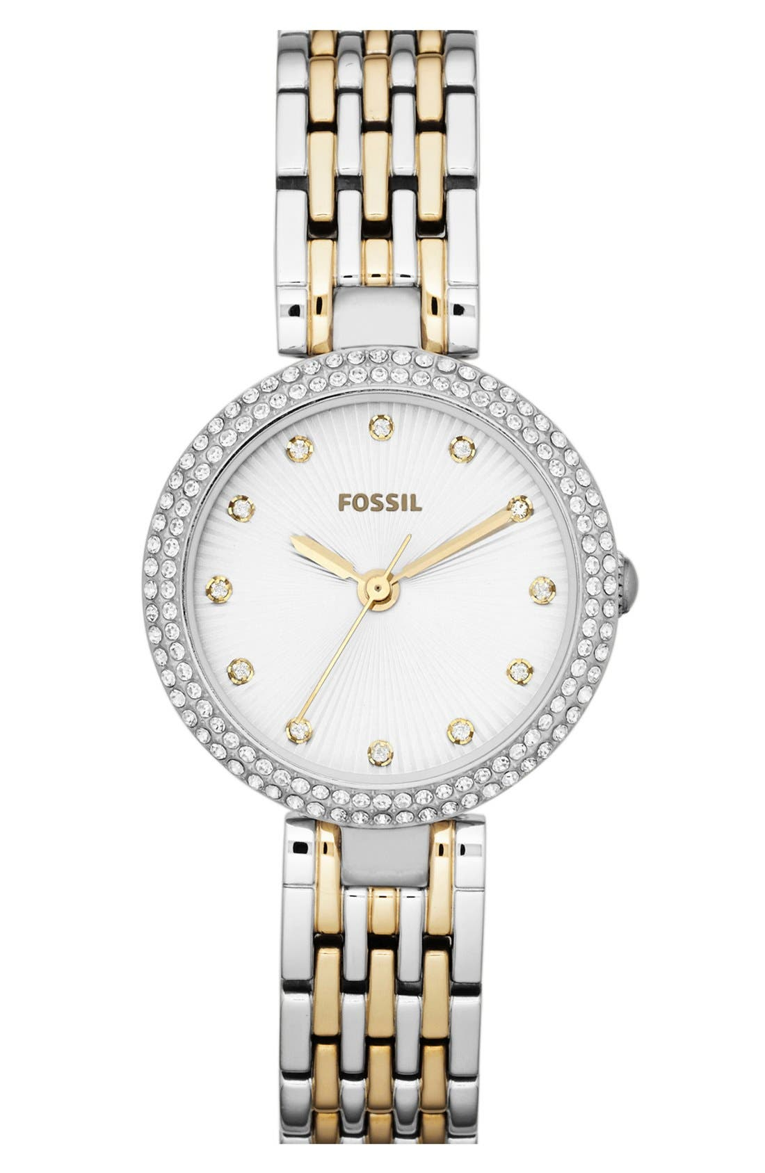Main Image - Fossil 'Olive' Crystal Bezel Bracelet Watch, 28mm