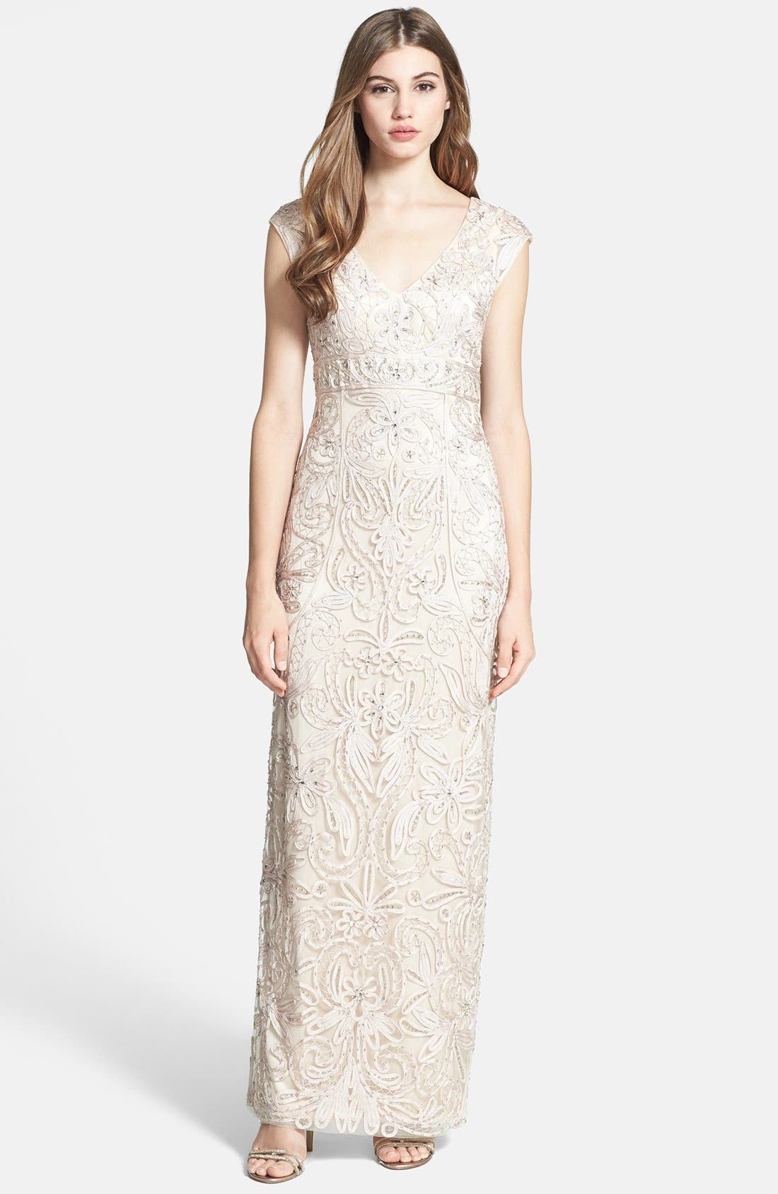 Alternate Image 1 Selected - Sue Wong Embellished Tulle Column Gown