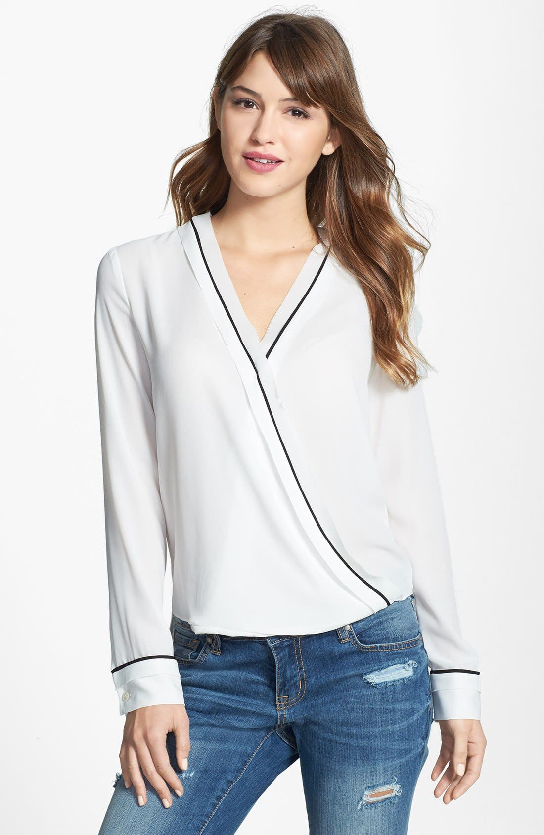Alternate Image 1 Selected - Vince Camuto Contrast Trim Wrap Front Blouse