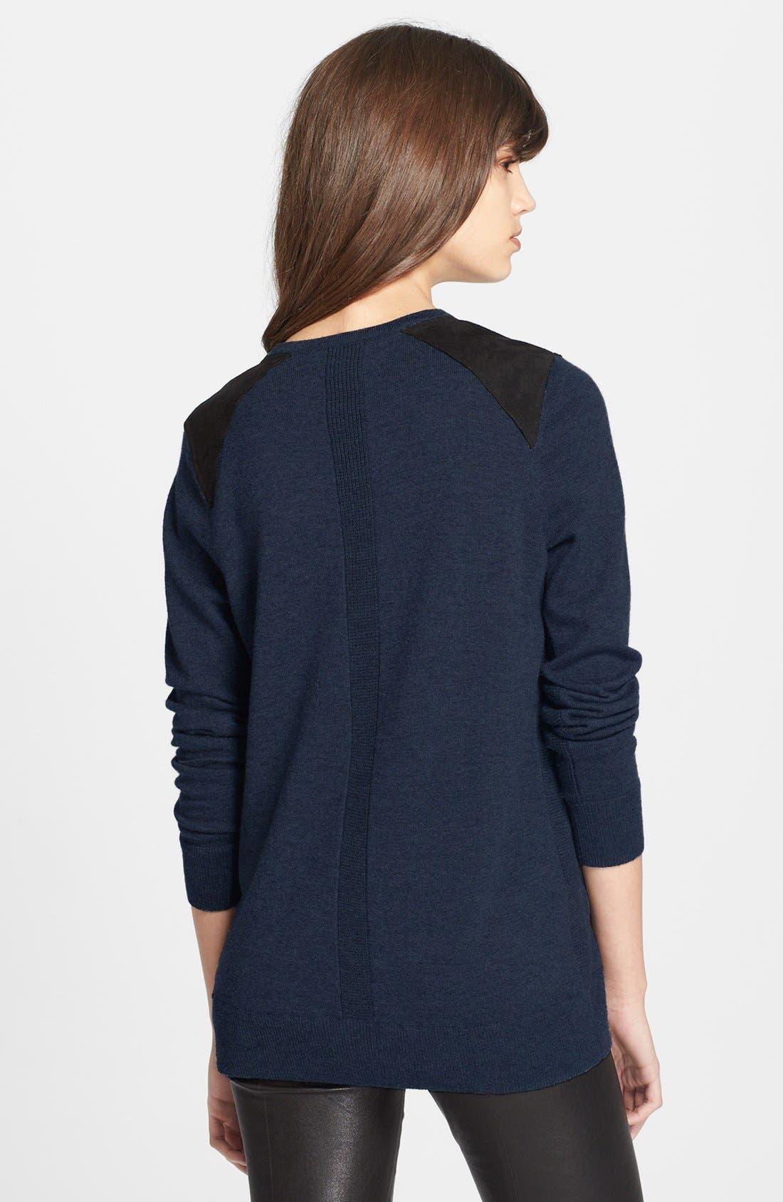 Alternate Image 2  - rag & bone 'Maribel' Suede Shoulder Sweater
