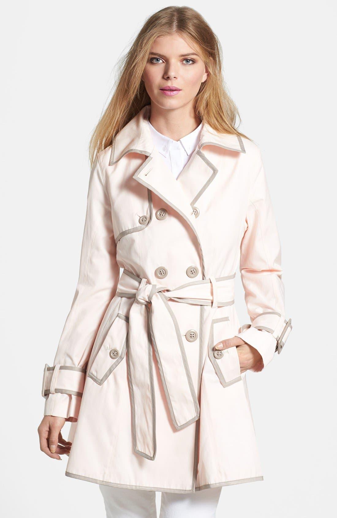 Main Image - Betsey Johnson Lace-Up Back Raincoat