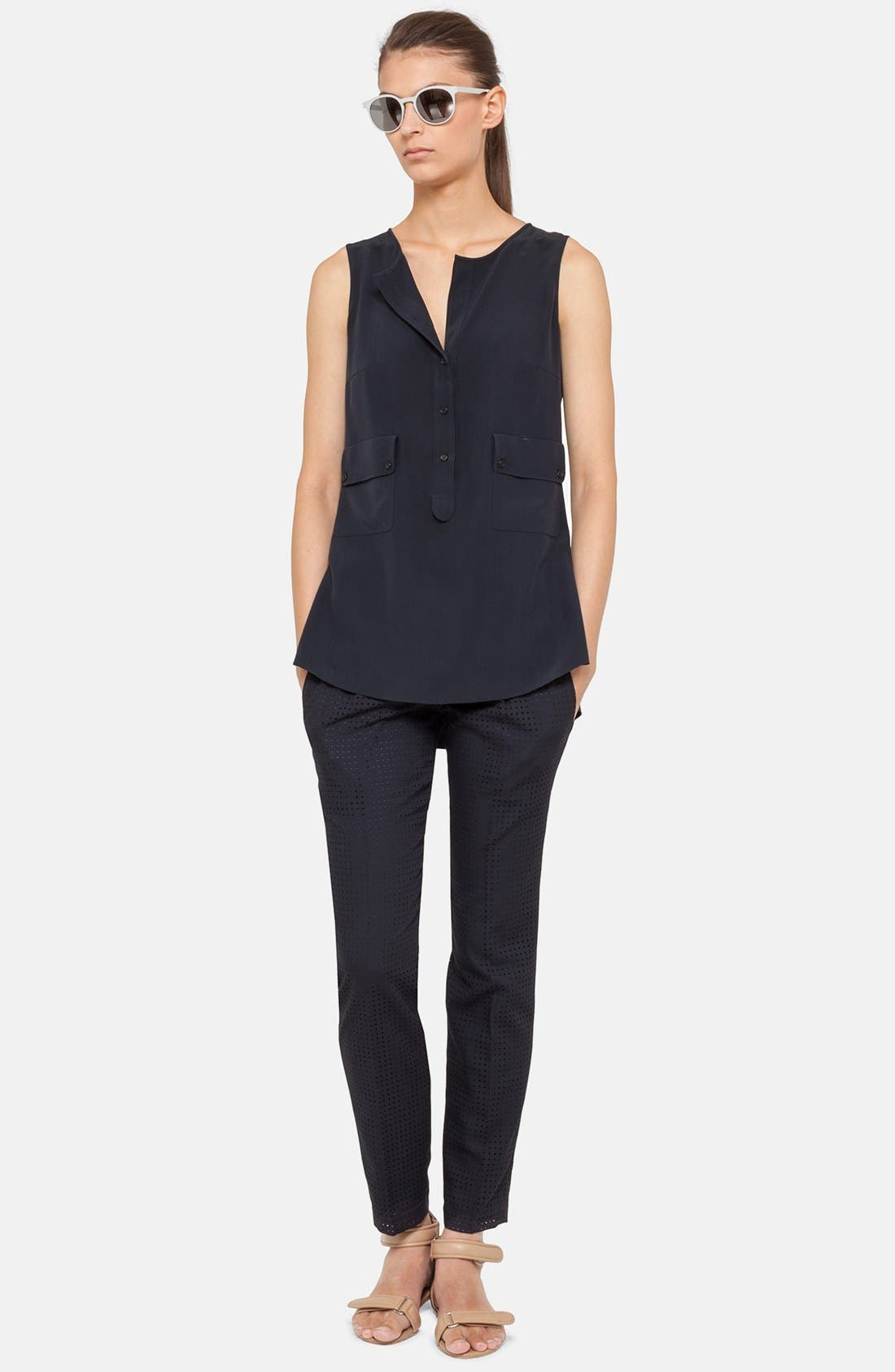 Alternate Image 1 Selected - Akris punto Flap Pocket Silk Blouse