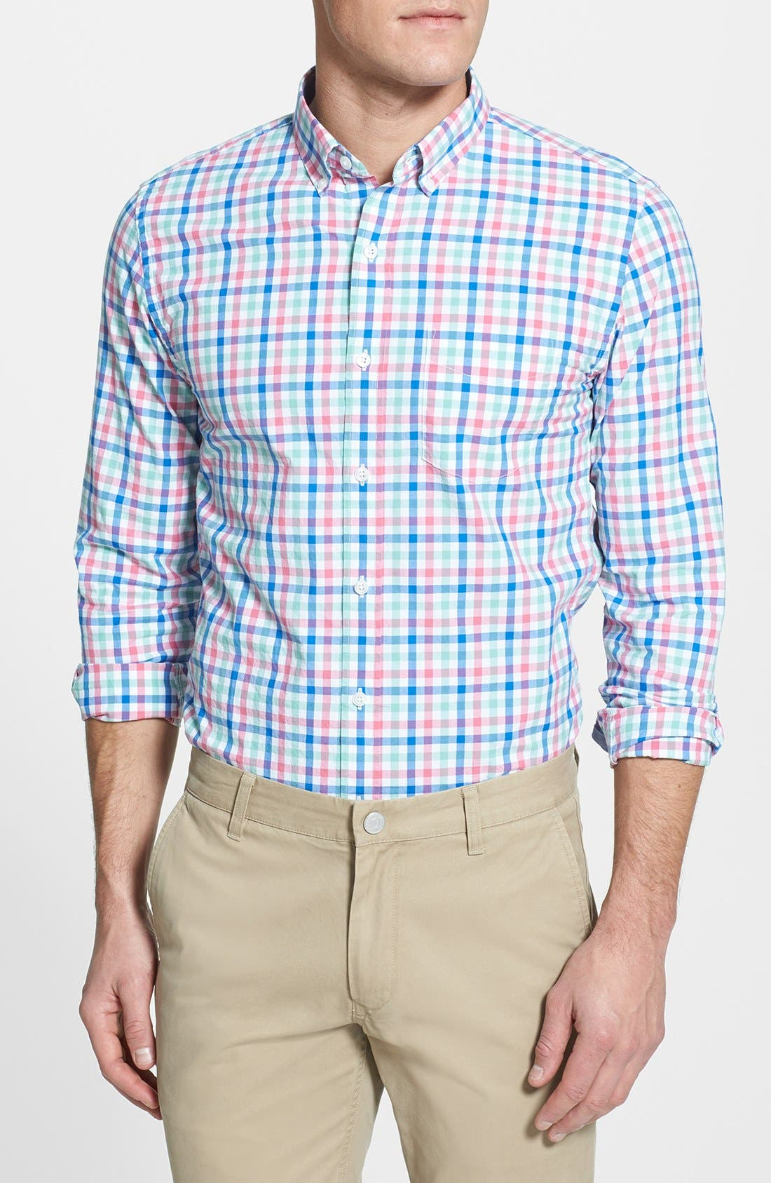 Alternate Image 1 Selected - Bonobos 'Hile' Slim Fit Tattersall Sport Shirt