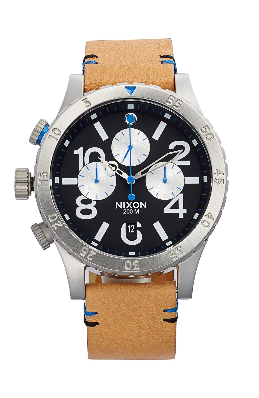 Alternate Image 1 Selected - Nixon 'The 48-20' Chronograph Leather Strap Watch, 48mm
