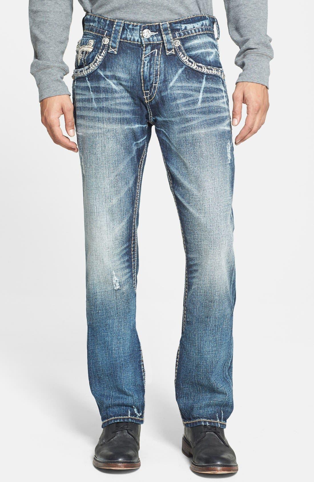 Alternate Image 2  - Rock Revival 'Teo' Straight Leg Jeans (Medium Blue)