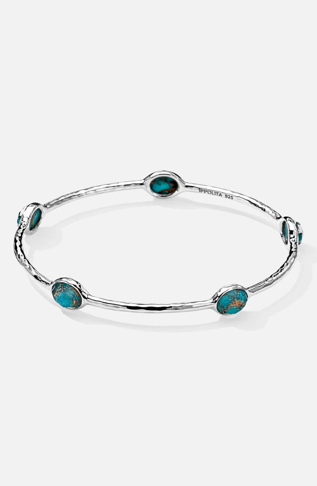 'Rock Candy' 5-Stone Blue Topaz Bangle,                             Main thumbnail 1, color,                             Silver/ Bronze Turquoise