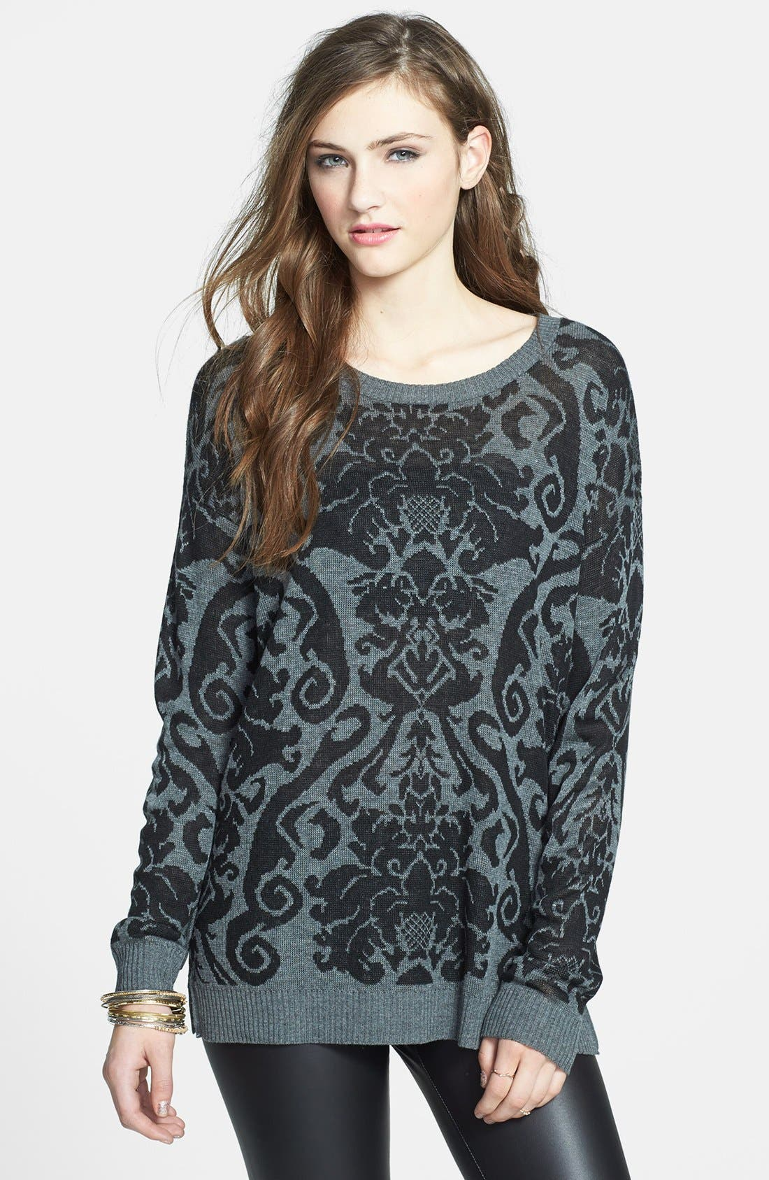 Alternate Image 1 Selected - Absolutely Cotton Baroque Pattern Sweater (Juniors)