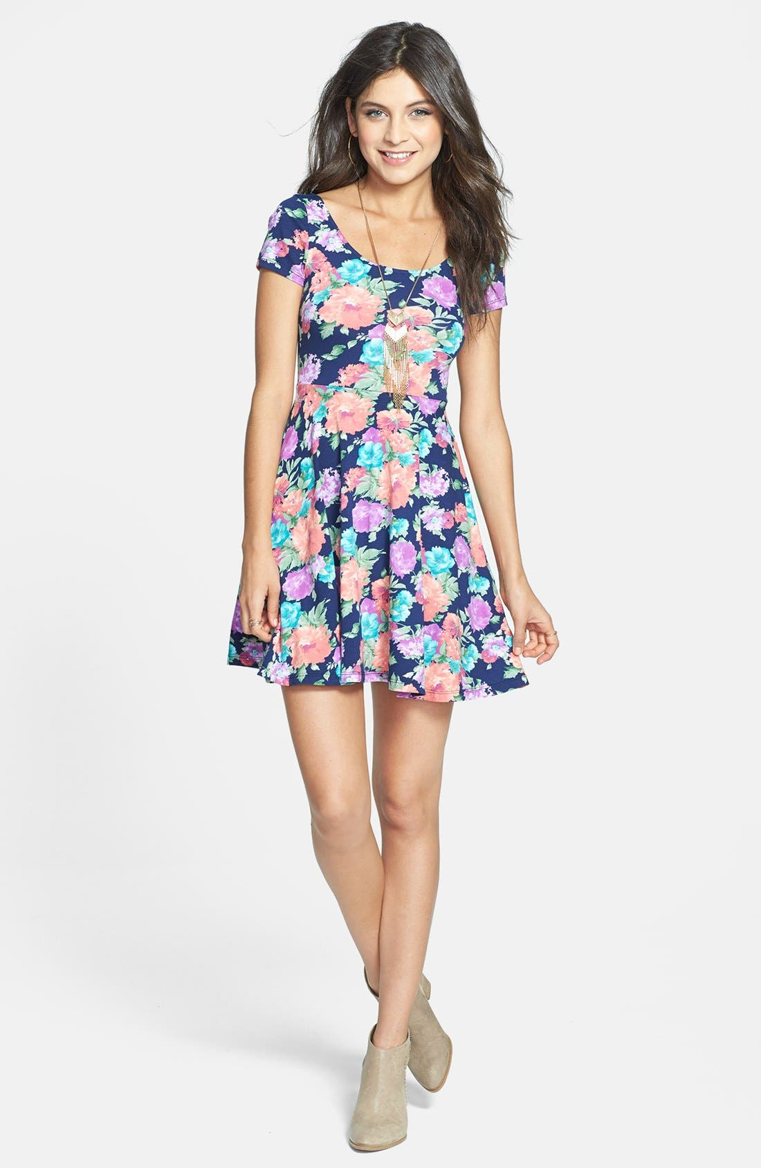 Alternate Image 1 Selected - Soprano 'Chloe' Scoop Neck Skater Dress (Juniors)