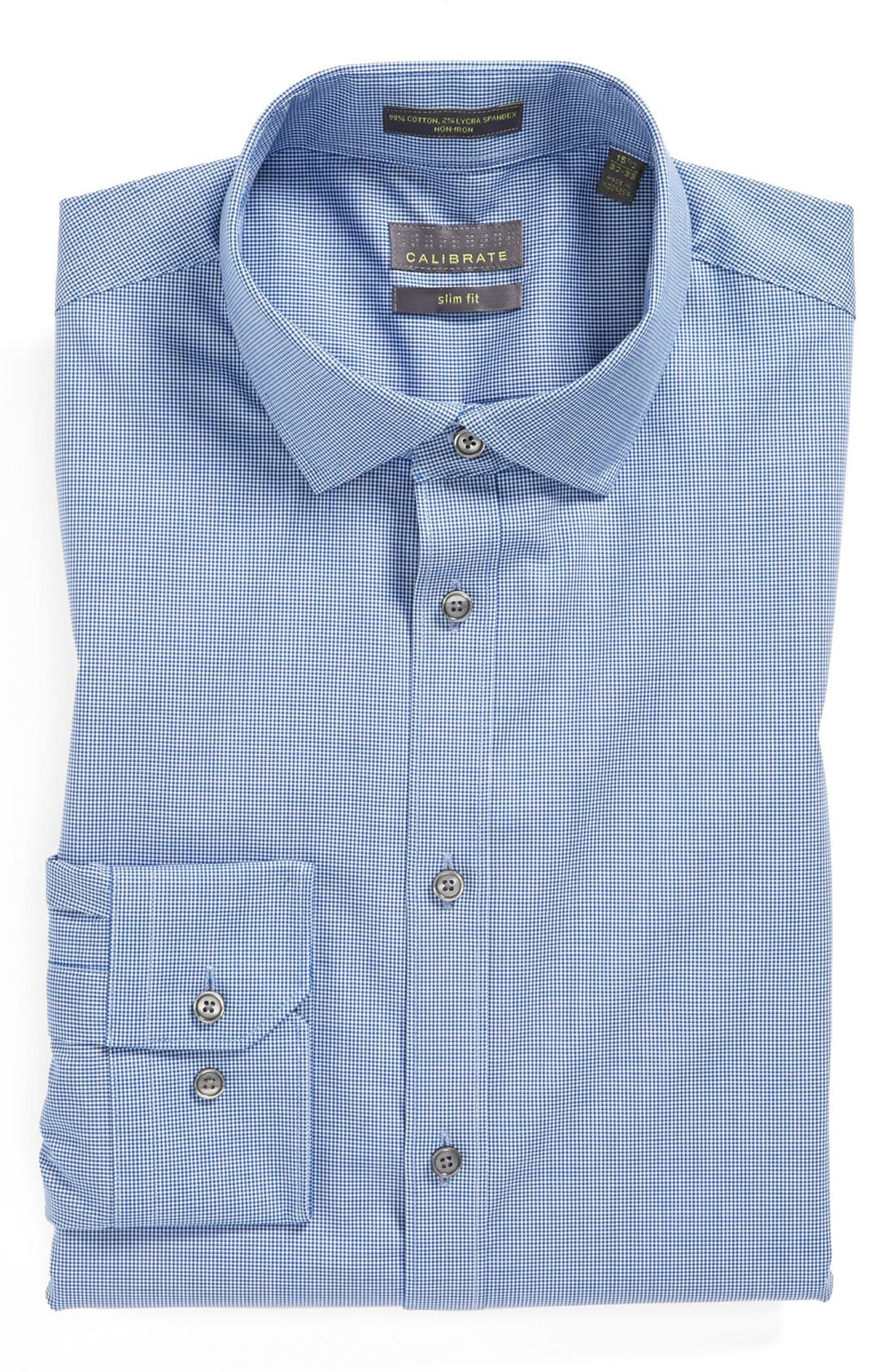 Alternate Image 1 Selected - Calibrate Extra Trim Fit Non-Iron Microcheck Dress Shirt
