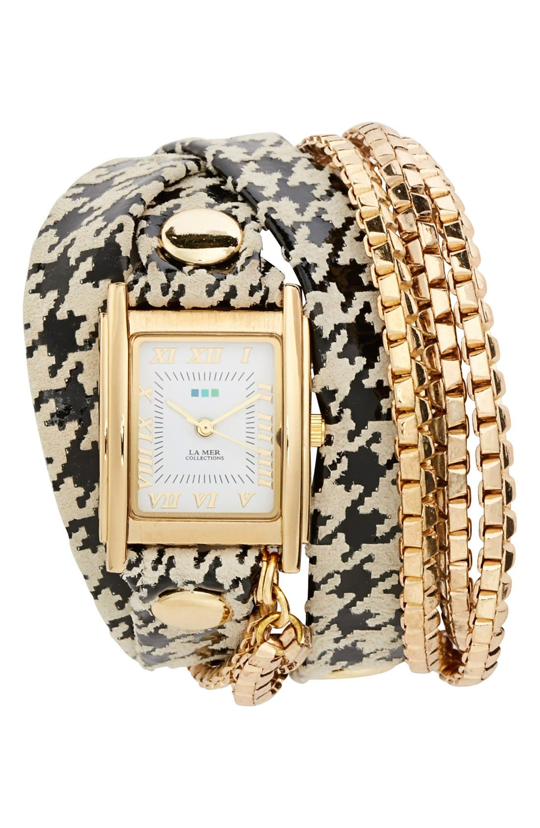 Alternate Image 1 Selected - La Mer Collections Square Houndstooth Wrap Watch, 22mm