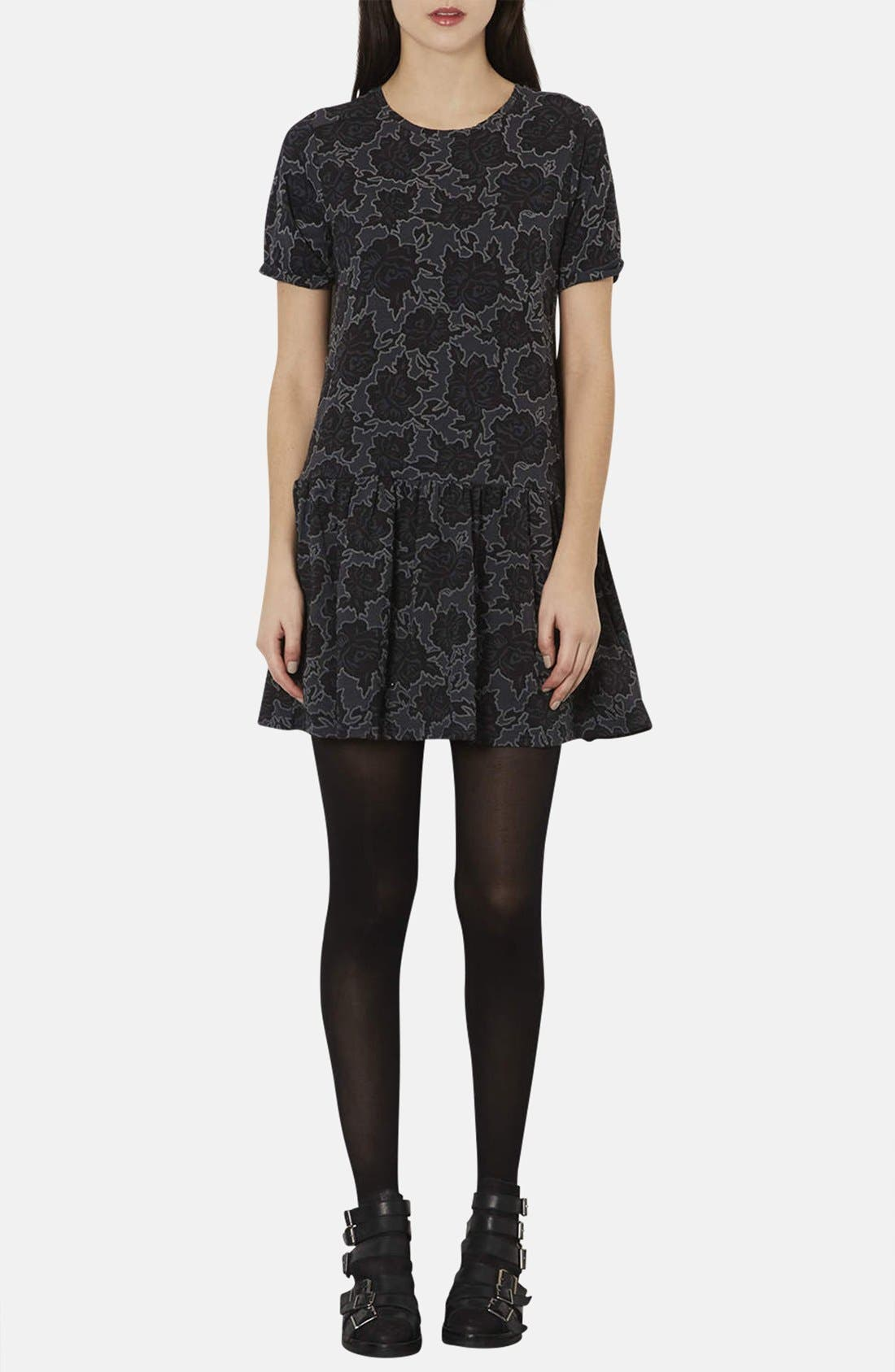 Main Image - Topshop Textured Rose Tunic Dress