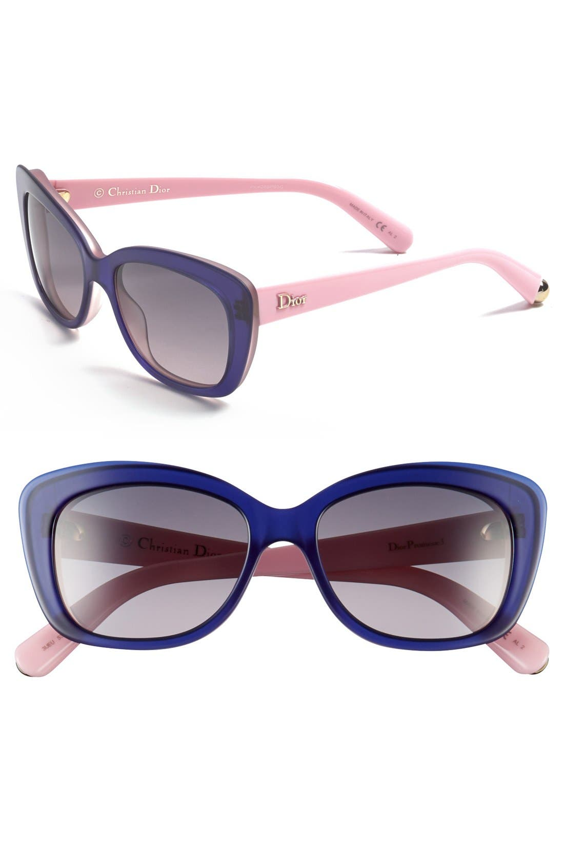 'Promesse' 53mm Retro Sunglasses,                         Main,                         color, Navy Pale Pink