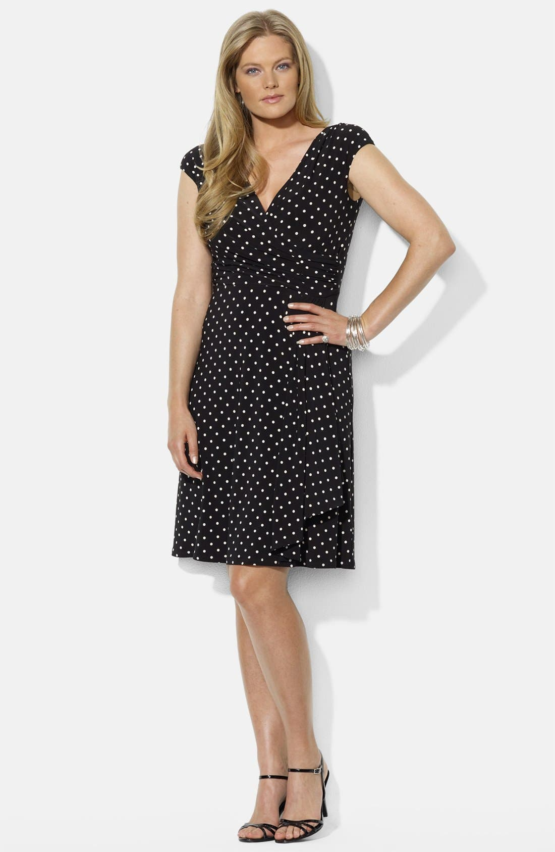 Main Image - Lauren Ralph Lauren Cap Sleeve Faux Wrap Dress (Plus Size)
