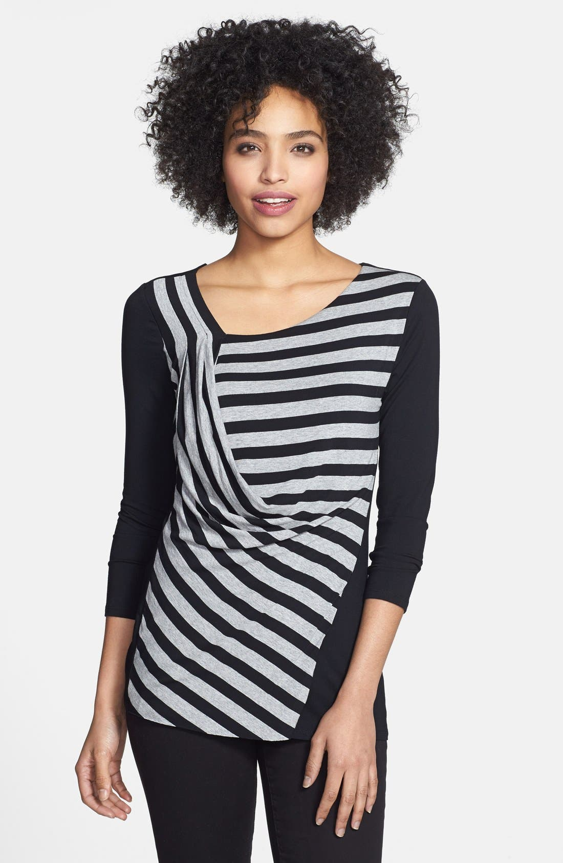 Main Image - Vince Camuto Stripe Front Side Drape Top