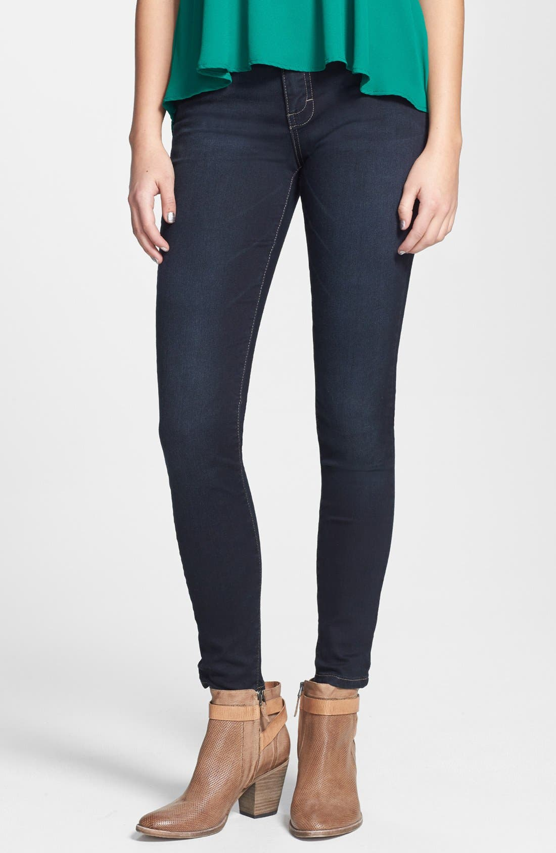 Alternate Image 1 Selected - STS Blue High Waist Skinny Jeans (Dark) (Juniors)