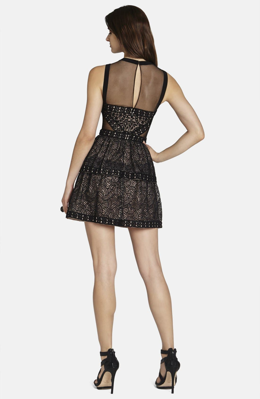 Alternate Image 2  - BCBGMAXAZRIA 'Joselyn' Mesh Inset Fit & Flare Dress