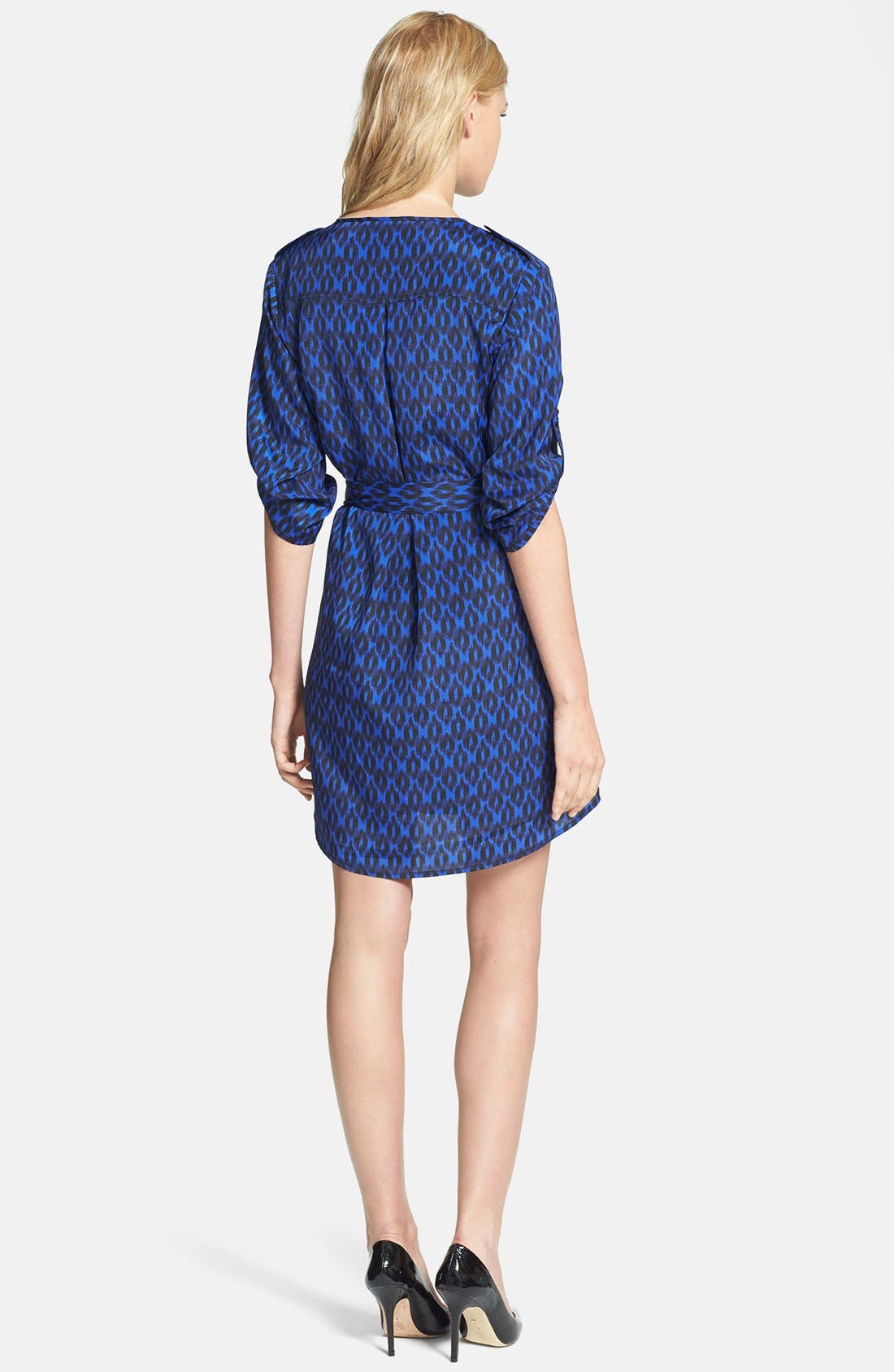 Alternate Image 3  - Collective Concepts Print Roll Sleeve Crêpe de Chine Shirtdress