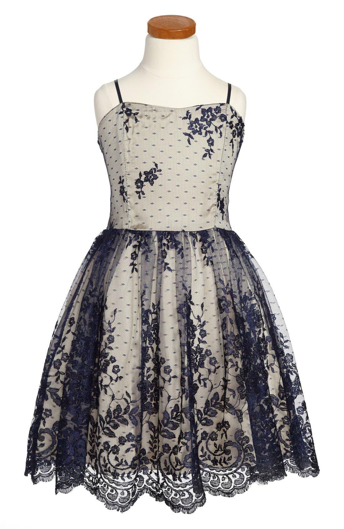 Alternate Image 1 Selected - Un Deux Trois Lace Overlay Dress (Big Girls)