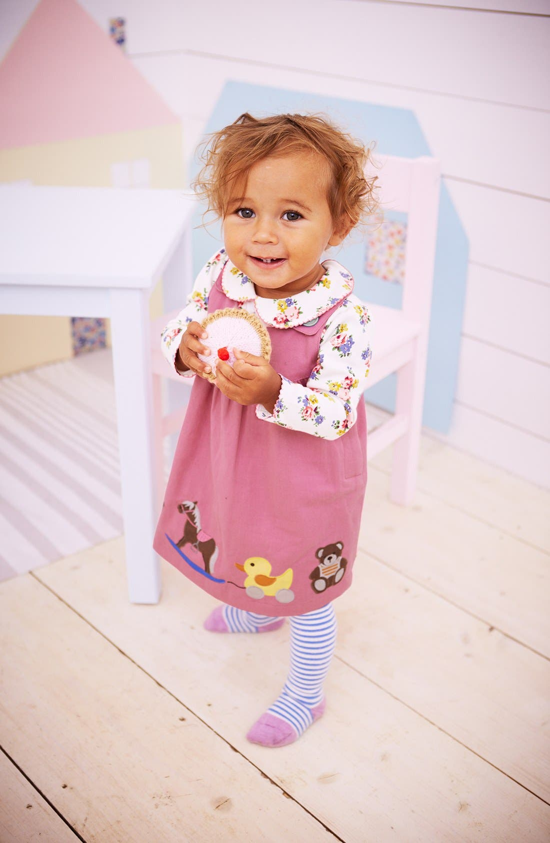 Alternate Image 3  - Mini Boden Appliqué Button Strap Dress (Baby Girls)