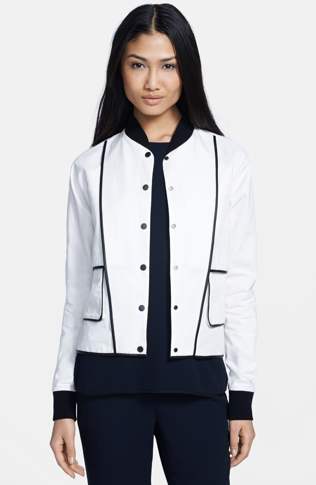 Main Image - A.L.C. 'Hampton' Leather Trim Cotton Canvas Jacket
