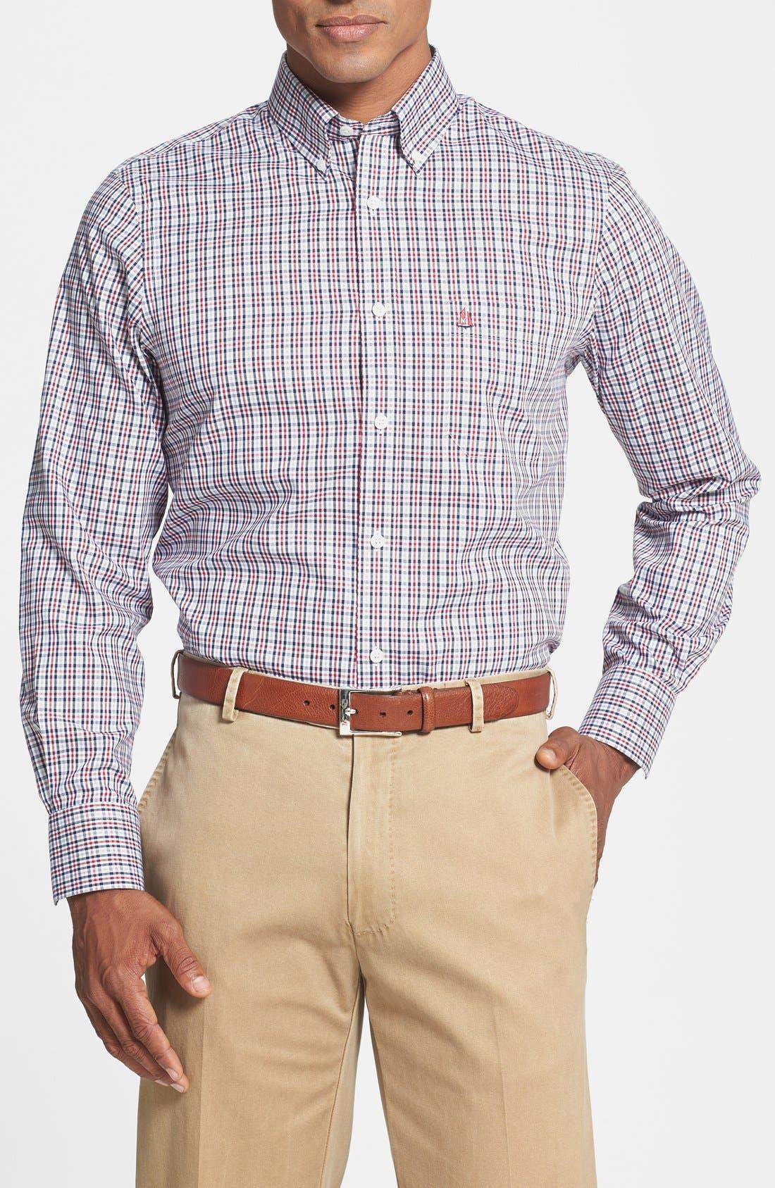 Check Regular Fit Sport Shirt,                             Main thumbnail 1, color,                             Navy Red Check