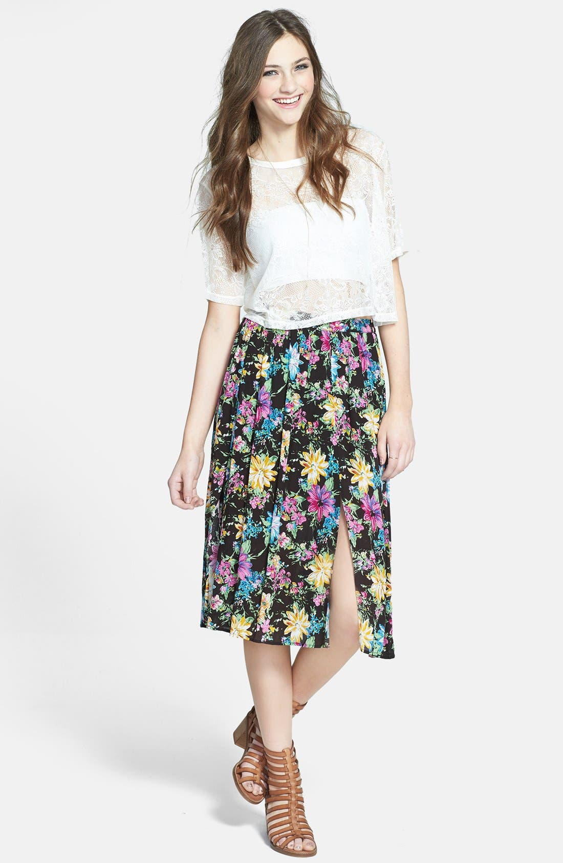 Double Front Slit Midi Skirt,                             Main thumbnail 1, color,                             Black Floral