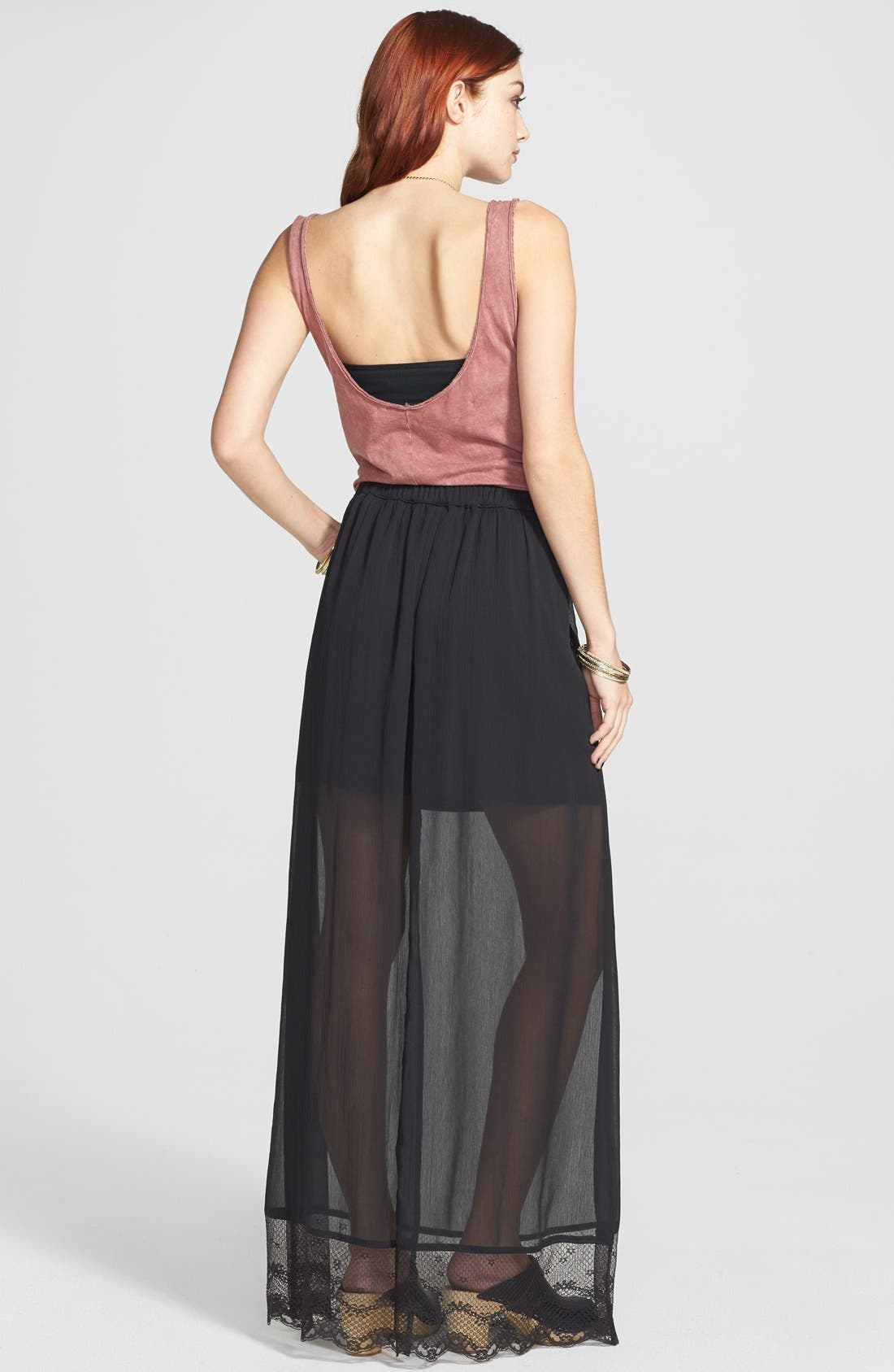 Alternate Image 2  - Frenchi® Lace Hem Maxi Skirt (Juniors)