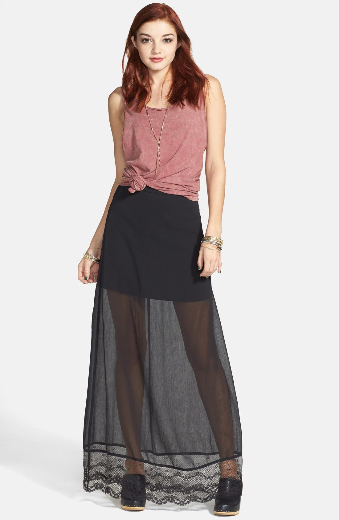 Alternate Image 1 Selected - Frenchi® Lace Hem Maxi Skirt (Juniors)