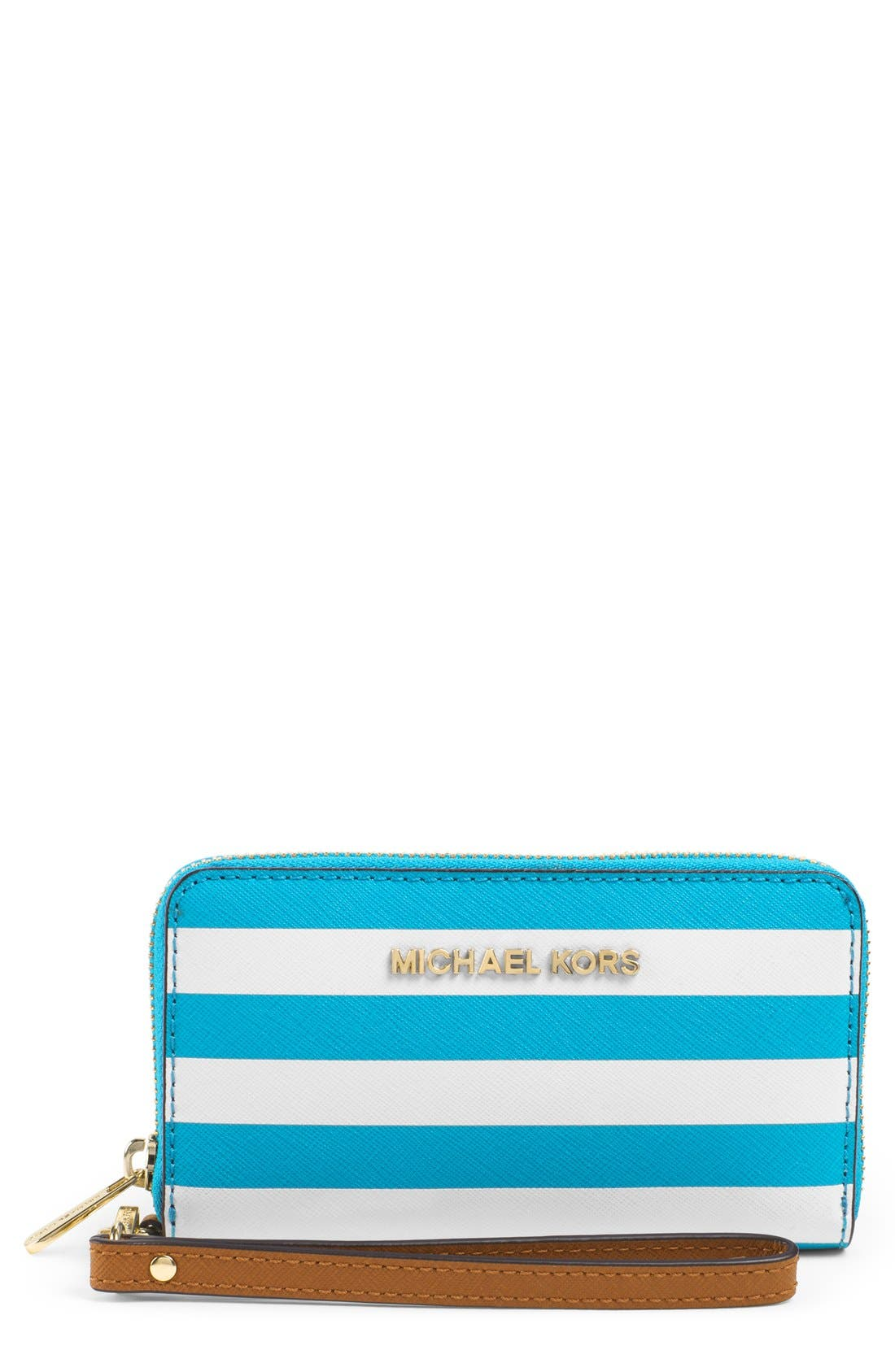 Alternate Image 1 Selected - MICHAEL Michael Kors 'Large' Stripe Saffiano Leather Phone Wallet