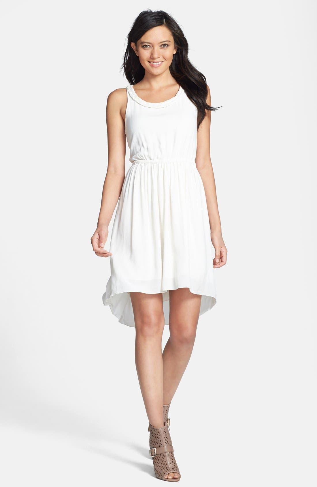 Main Image - Black Swan Cutout Suede Back Crepe High/Low Dress