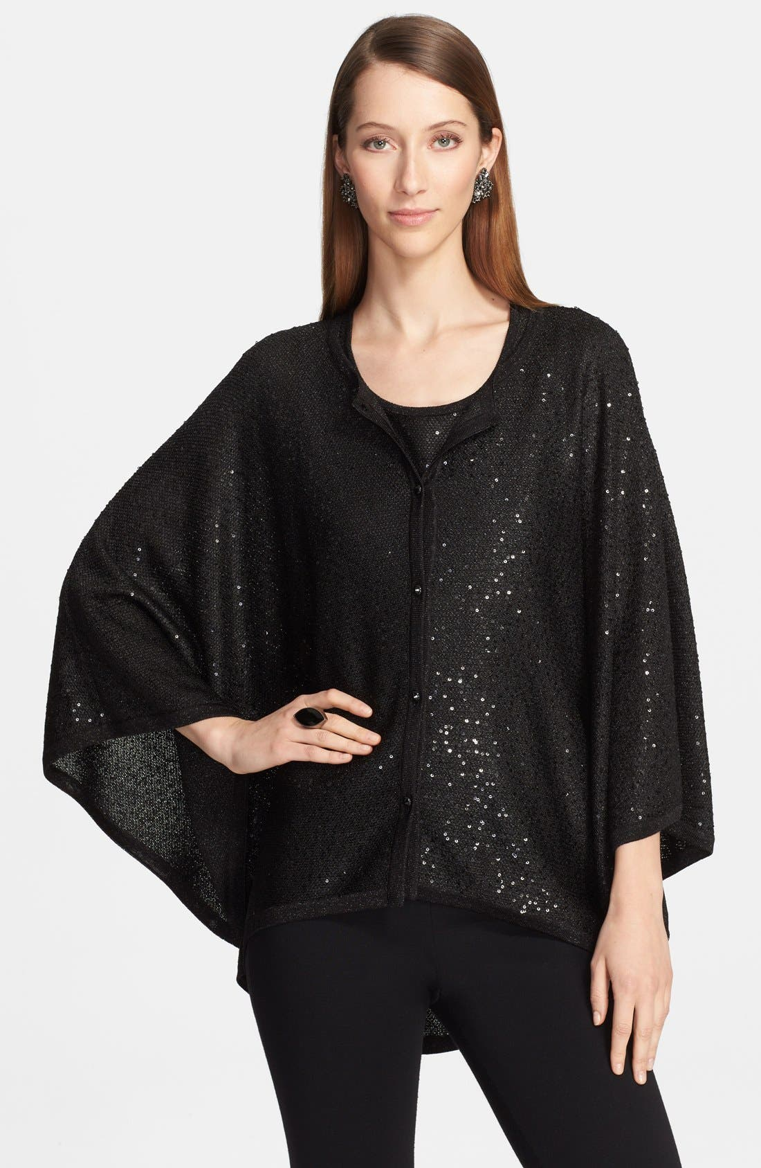 Main Image - St. John Collection Sequin Knit Trapeze Cardigan