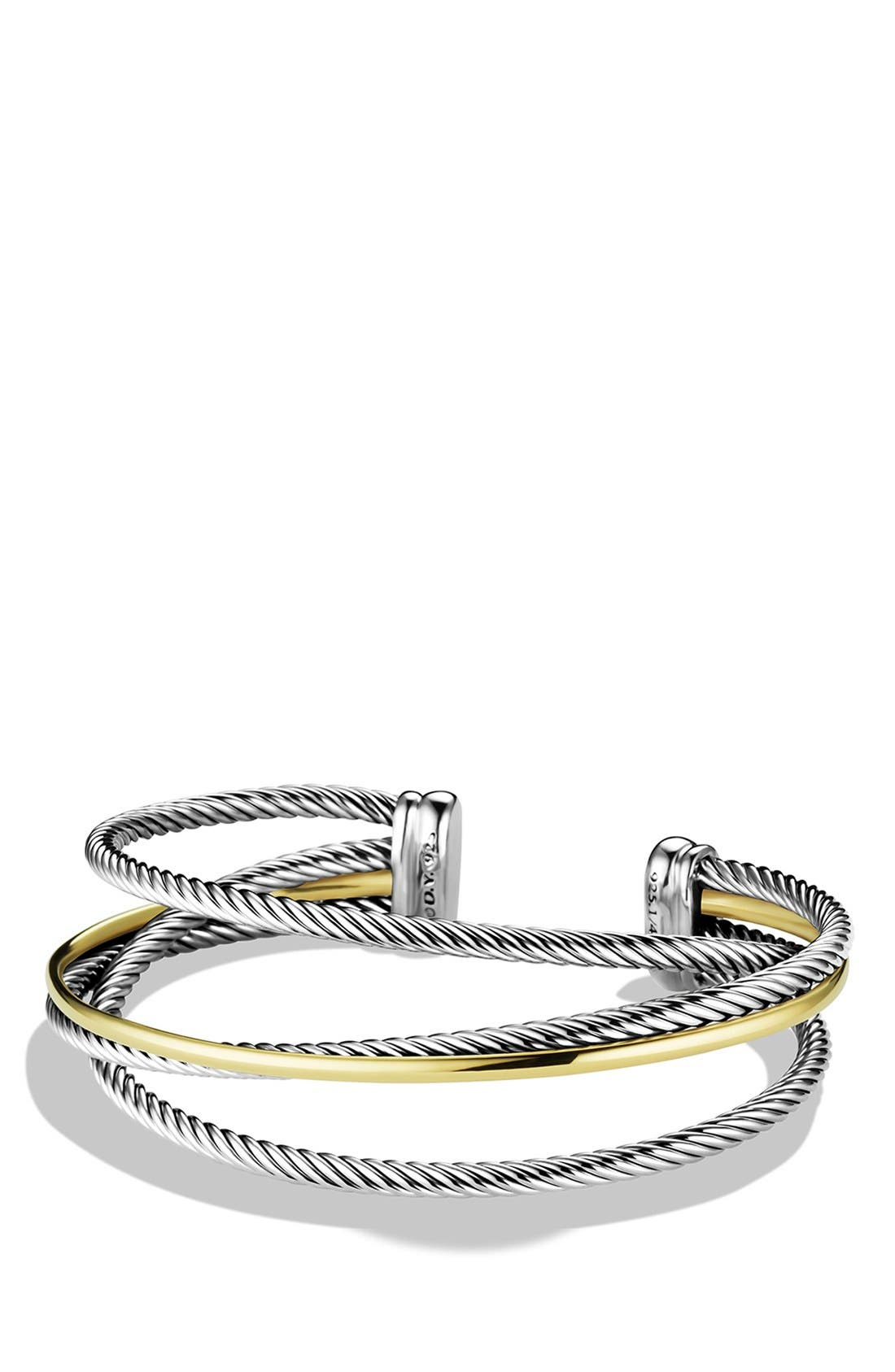 Alternate Image 1 Selected - David Yurman 'Crossover' Three-Row Cuff with Gold
