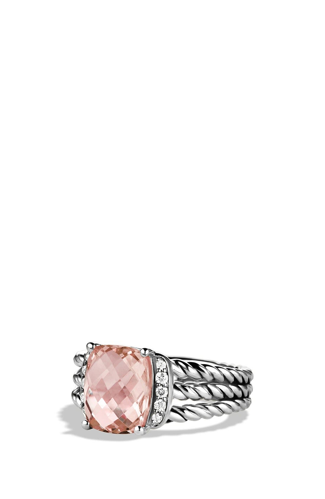 'Wheaton' Petite Ring with Semiprecious Stone & Diamonds,                         Main,                         color, Morganite