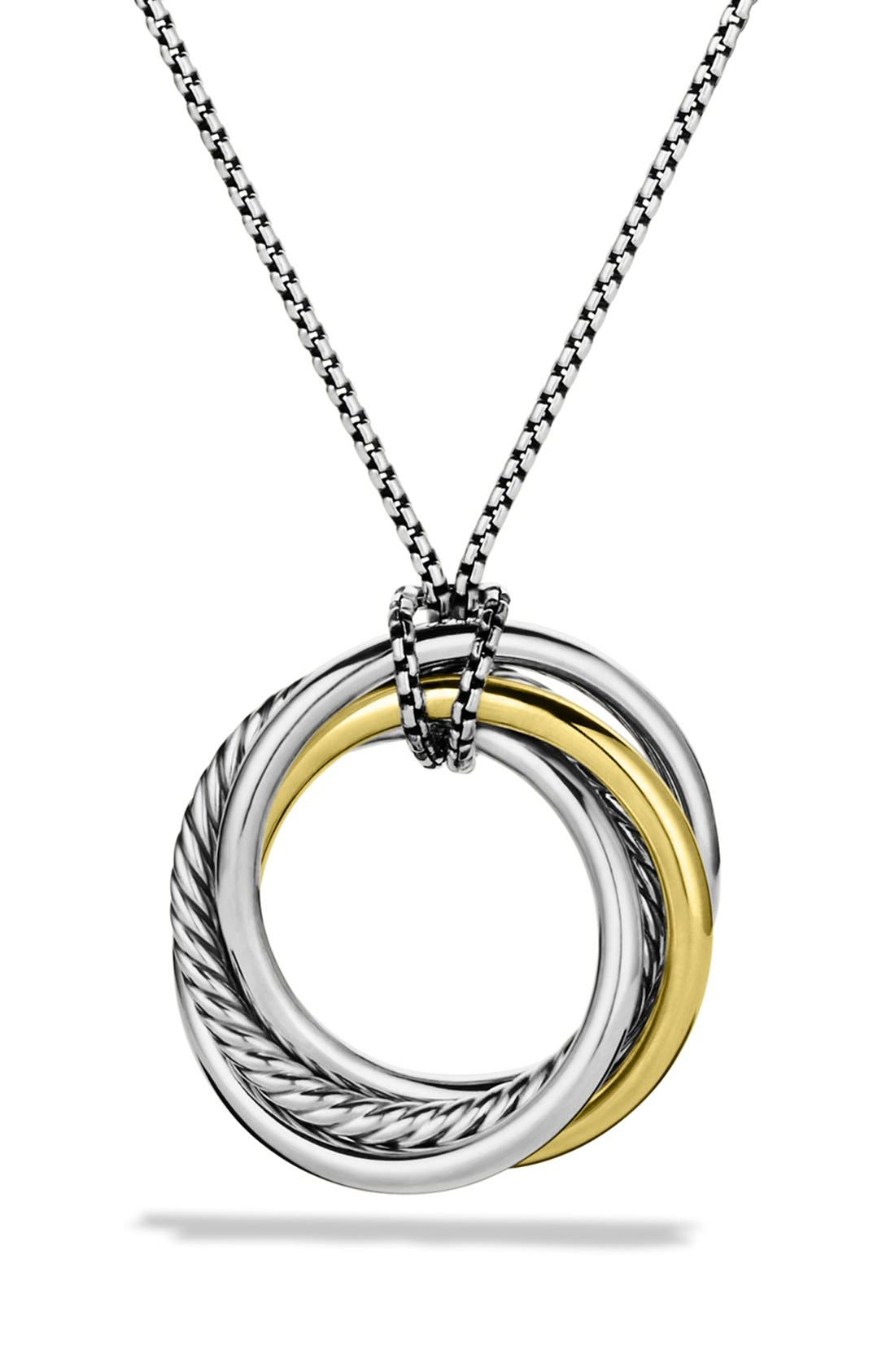 'Crossover' Pendant with Gold on Chain,                             Main thumbnail 1, color,                             Two Tone