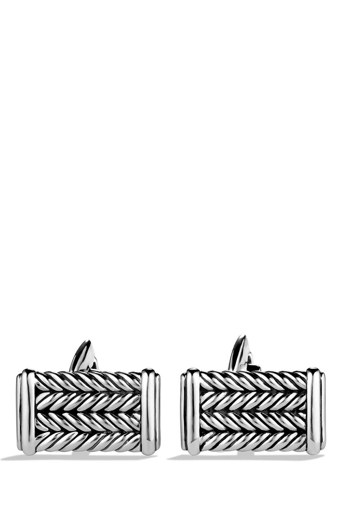 'Chevron' Cuff Links,                             Alternate thumbnail 2, color,                             Silver